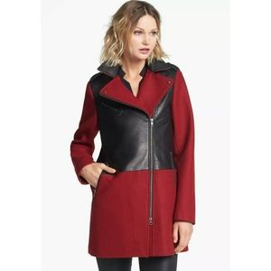 Soia & Kyo • Red Wool Leather Coat